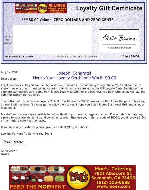 certificate for referral bonus