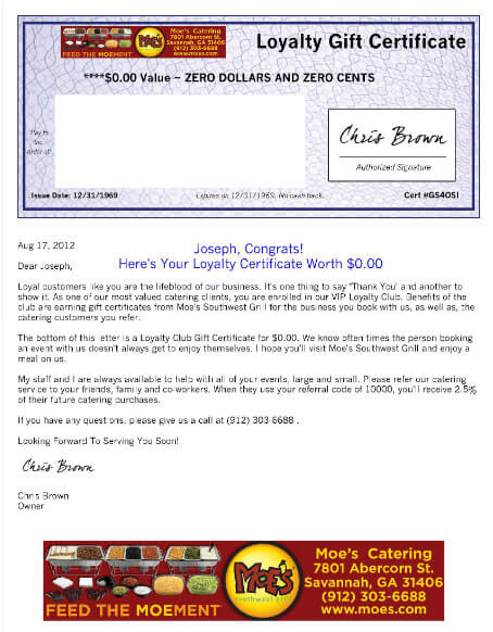 catering gift certificate letter