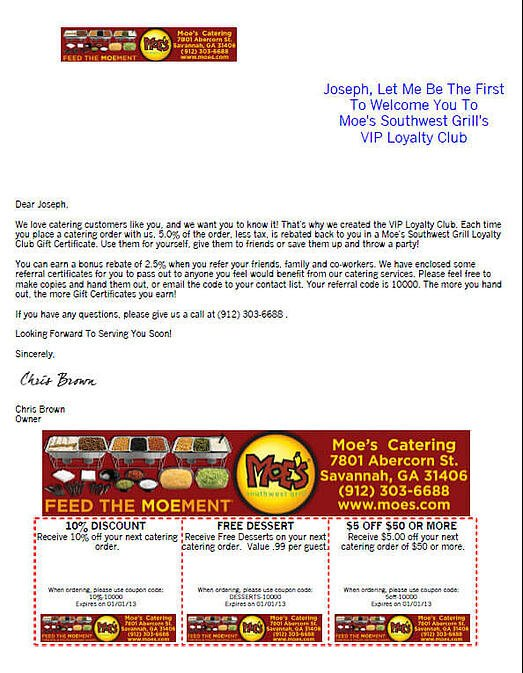 catering loyalty program welcome letter