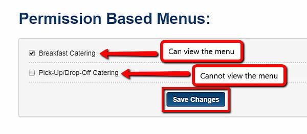 catering menu for segmented contacts