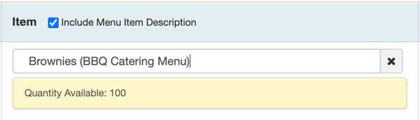catering menu item limit