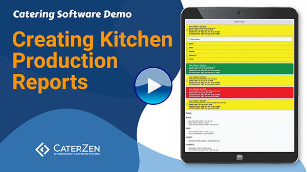 create catering kitchen production reports video