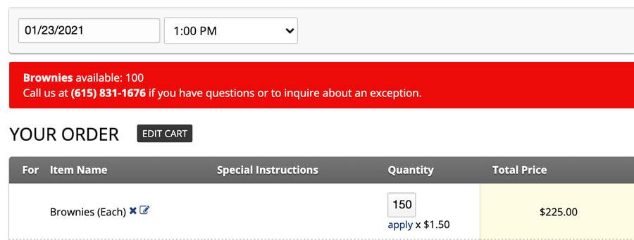 menu item availability