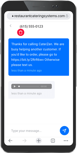 restaurant reply voice message