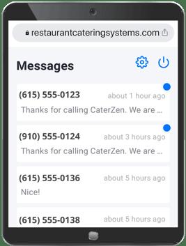 restaurant text message tablet
