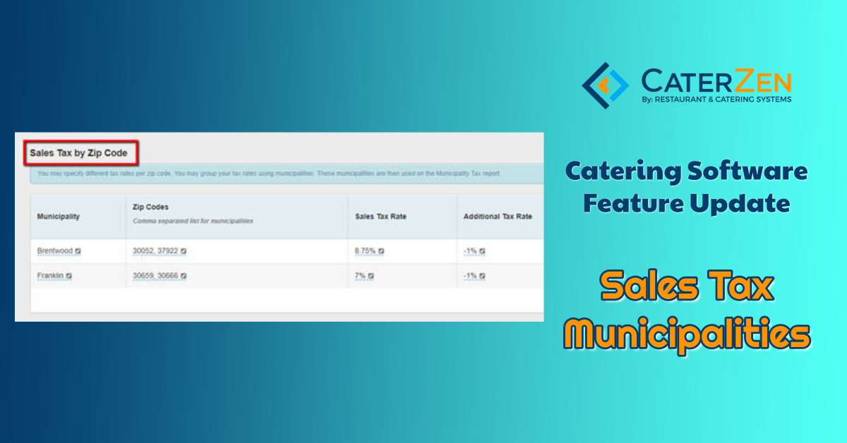 catering software sales tax municipalities
