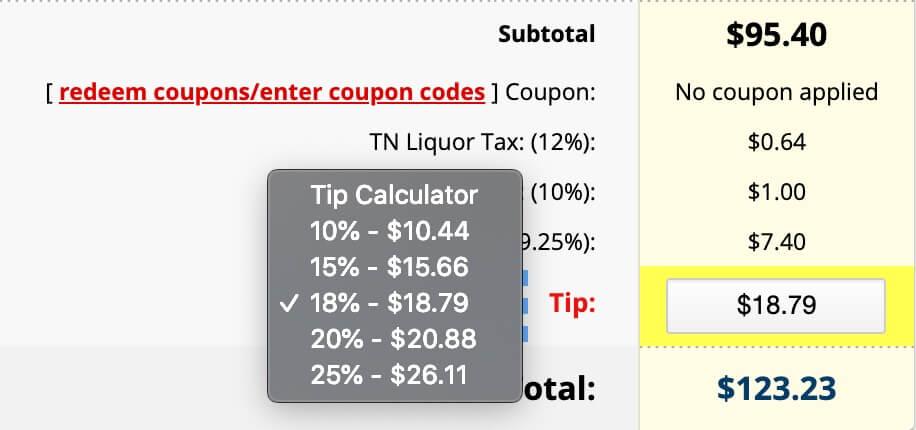 tip calculator online ordering