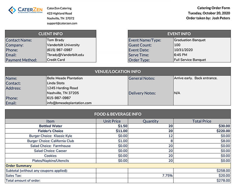 catering order form template