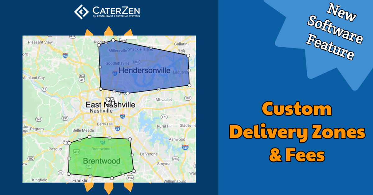 custom catering delivery zones fees
