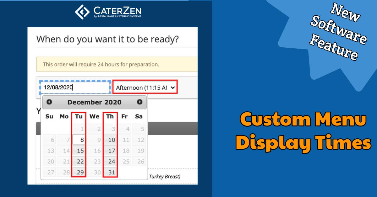 custom menu display times